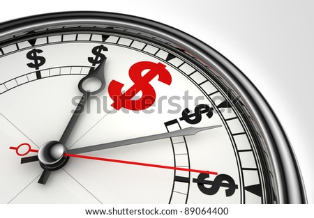red dollar symbol on concept clock closeup on white background metaphor time is money - stock photo