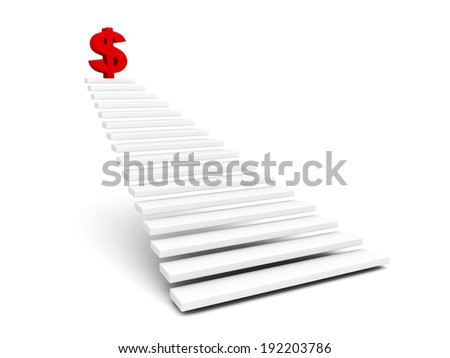 red dollar symbol on top of ladder. financial success business concept 3d render illustration - stock photo