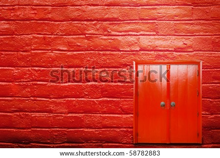 Red door and red wall