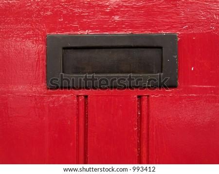 Red door detail - stock photo