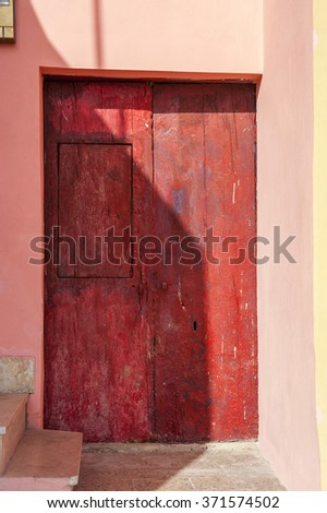 red door in Sicily, Italy, Europe