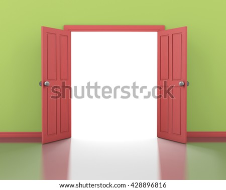 red door opening and green wall interior 3d rendering - stock photo