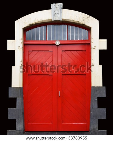 Red doors on black with clipping path