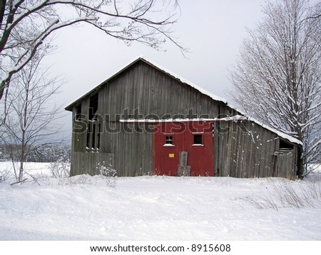 red doors on old barn