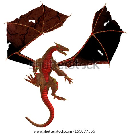 Red Dragon - A creature of myth and fantasy the dragon is a fierce flying monster with horns and large teeth. - stock photo