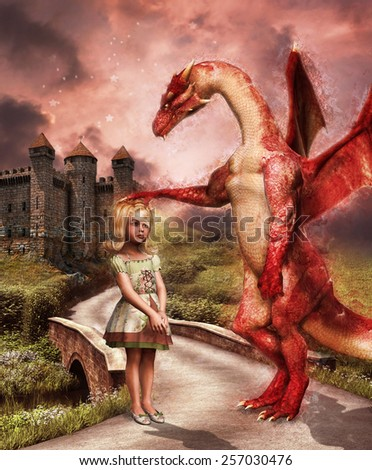 Red dragon and a little girl on a road to a fantasy castle - stock photo