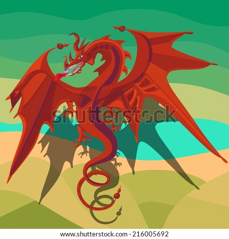Red dragon flying over the fields and the river - stock photo