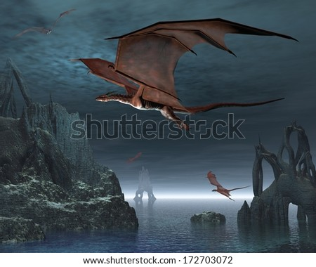 Red dragons flying over strange islands in a calm moonlit sea, 3d digitally rendered illustration - stock photo
