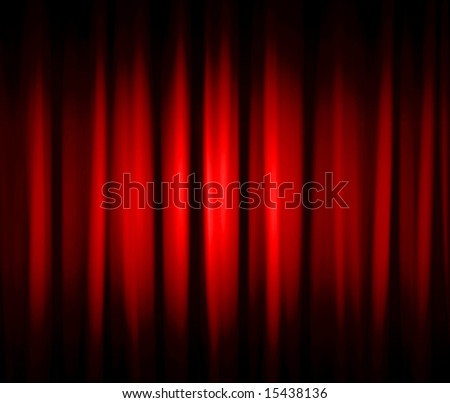Red Dramatic Stage Drapes - stock photo
