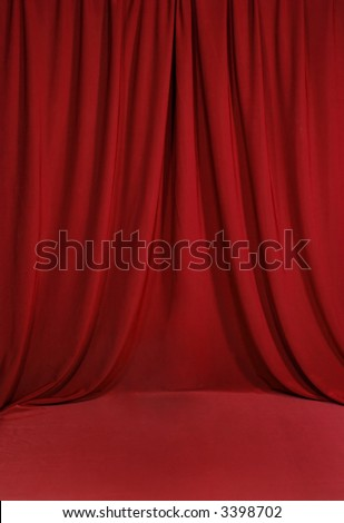 Red Draped Background Backdrop - stock photo
