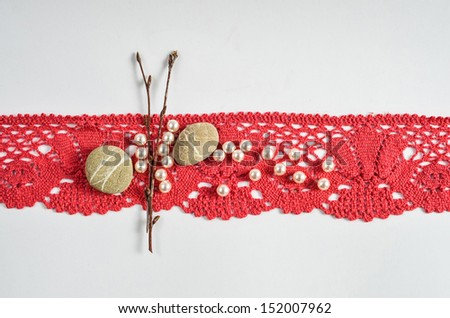 Red drapery decoration  Decoration with stones and pearls