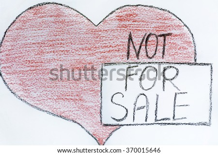 red drawn heart with not for sale sign .Separation concept - stock photo