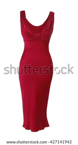red dress isolated on white background - stock photo
