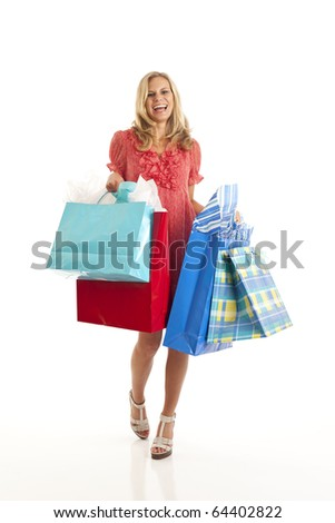 Red dressed woman with shopping bags