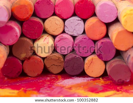 red dried pastels - stock photo