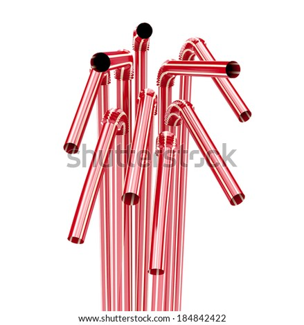 red drinking straws isolated on white background. 3d illustration - stock photo