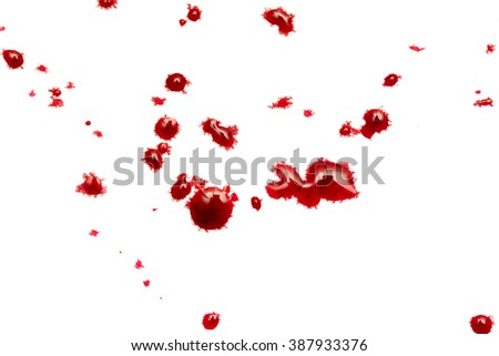 red drops of blood on a white background