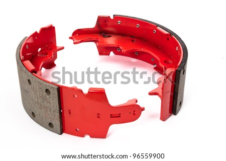 Red drum brake shoes - stock photo