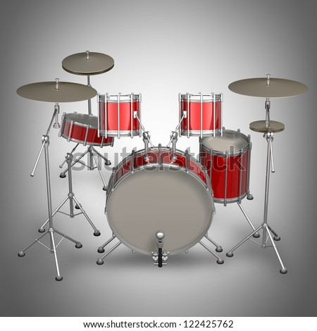 Red drum kit. High resolution 3d render - stock photo