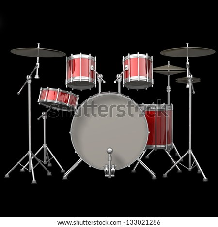 Red drum kit isolated on black background. High resolution 3d render - stock photo