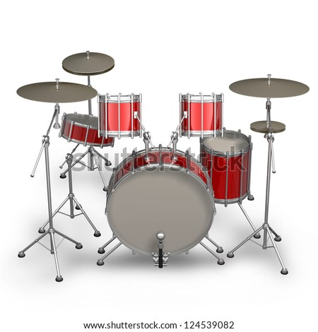 Red drum kit isolated on white background. High resolution 3d render - stock photo