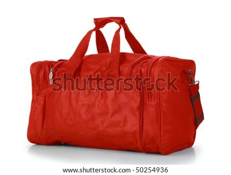 Red Duffel Bag - stock photo
