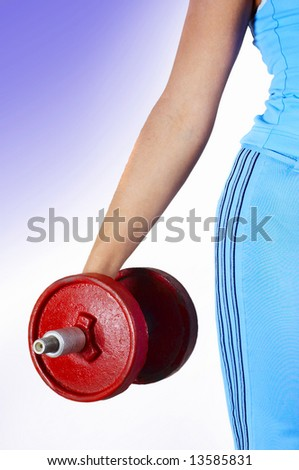 red dumbbell - stock photo