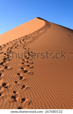 Red dune on the road to Sossusvlei, Namibia - stock photo