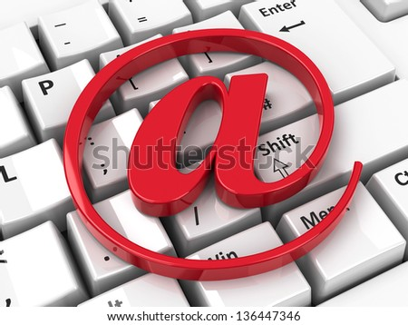 Red e-mail icon on computer keyboard background, three-dimensional rendering - stock photo