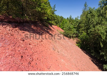 Red earth ground in Dagerhamn village on Oland island