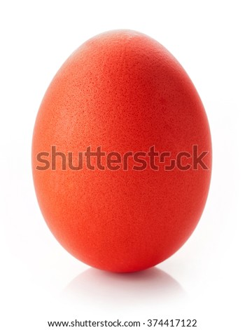 Red easter egg isolated on white background - stock photo