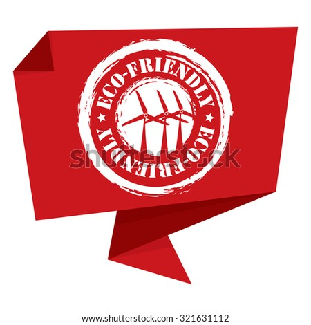 Red Eco-Friendly Paper Origami Speech Bubble or Speech Balloon Infographics Sticker, Label, Sign or Icon Isolated on White Background - stock photo