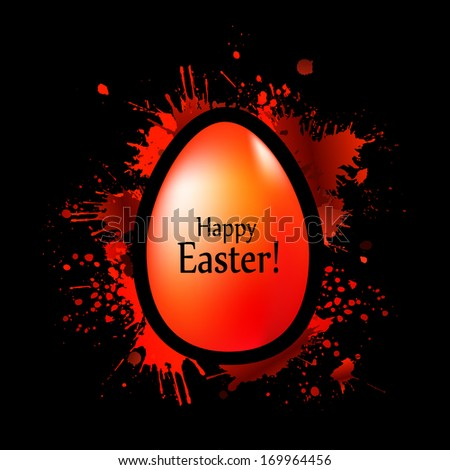 red egg on the spots of paint. Happy Easter!  - stock photo