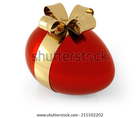 red egg with golden bow on white background
