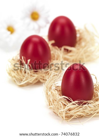 red eggs in nests for easter