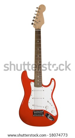 Red electric guitar isolated on white with clipping path - stock photo