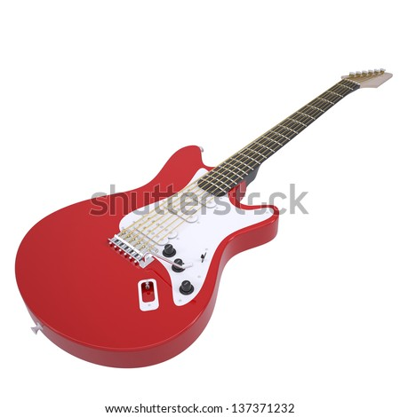Red electric guitar. Isolated render on a white background