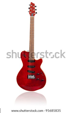 red electric guitar on white background - stock photo