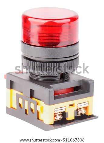 Red electrical button switch isolated on the white