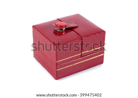 Red elegant jewelry paper box isolated on white background - stock photo