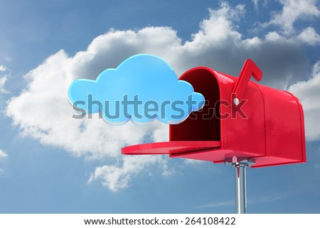 Red email postbox against cloudy sky - stock photo