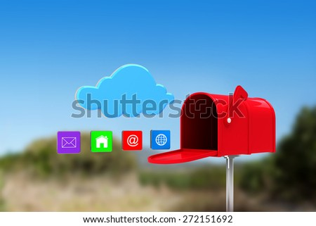 Red email postbox against mountain trail - stock photo