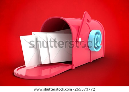 Red email postbox against red background - stock photo