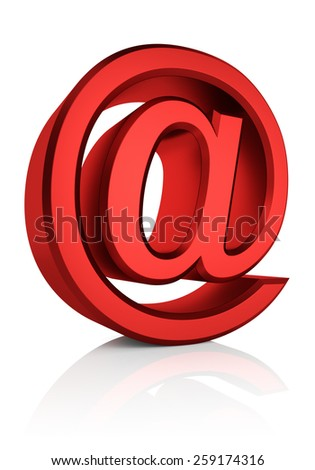 Red email symbol isolated on white background. 3d render - stock photo
