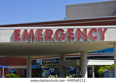Red Emergency Entrance Sign for a Local Hospital VII - stock photo