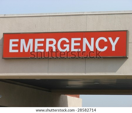 Red Emergency Sign - stock photo