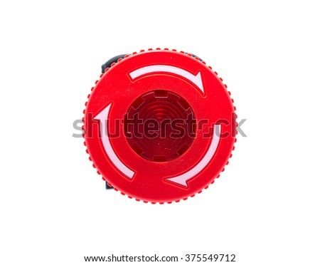 Red Emergency Stop Button Isolated on a White Background. - stock photo