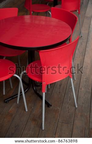 red empty bear house seats - stock photo
