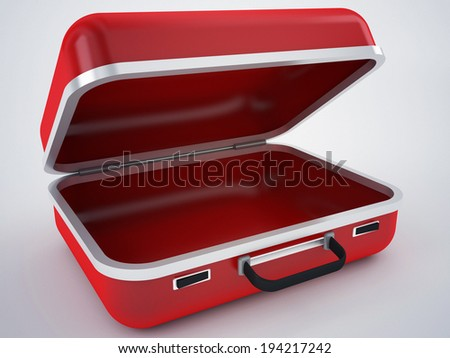 red empty briefcase - stock photo