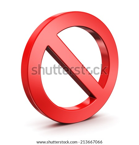 Red empty forbidden, restricted or prohibited road traffic limit sign isolated on white background - stock photo